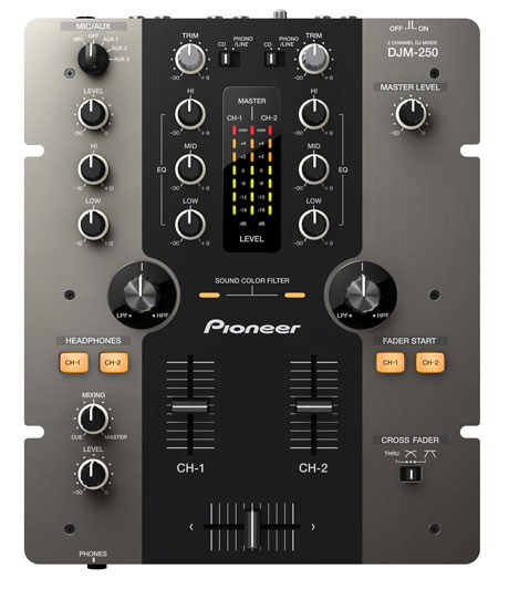 pioneer djm-250 2 channel mixer filter